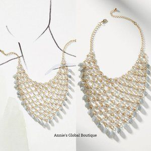 NWT ANTHROPOLOGIE Fishnet Beaded Bib Necklace